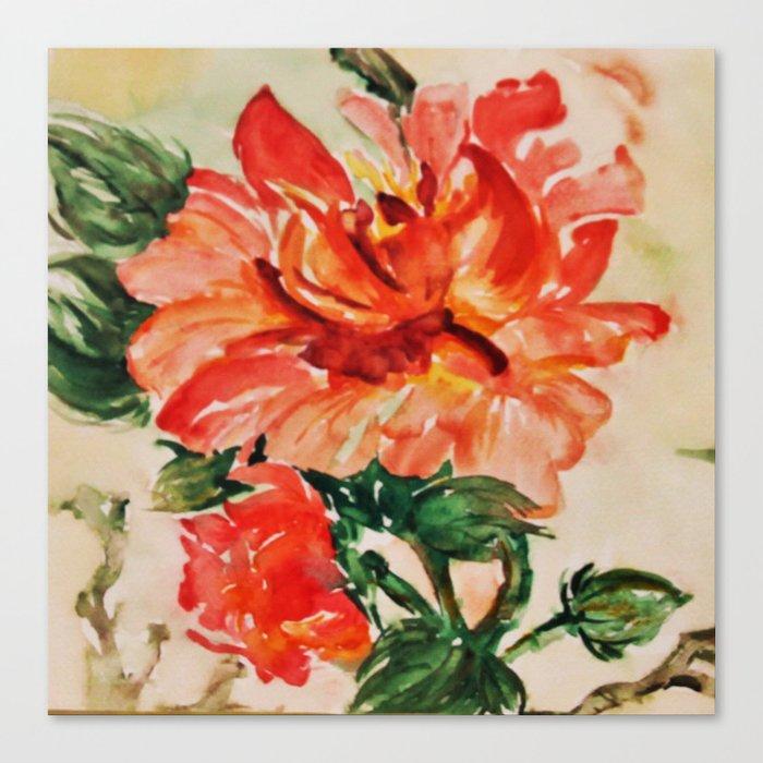 red rose japanese art Canvas Print