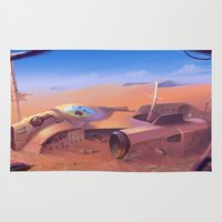 wreck it ralph Area & Throw Rugs featuring Desert wreck by DanielVijoi