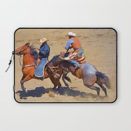 The Saddle Bronc and the Pickup Man - Rodeo Art Laptop Sleeve