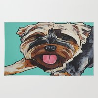 yorkie Area & Throw Rugs featuring Yorkie (Yorkshire Terrier) on Turquoise Background by Cheney Beshara