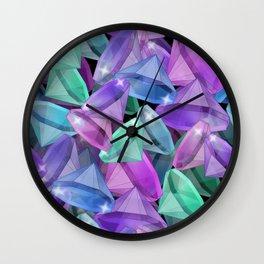 Placer precious stones Black background . Diamonds . Wall Clock