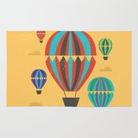 hot air balloons Area & Throw Rugs featuring Hot Air Balloons by Marina Design
