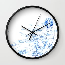 Jellyfish Beach (line) Wall Clock