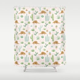 Armadillos in the Desert - Watercolor Shower Curtain