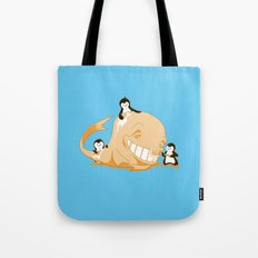 penguins and a whale Tote Bag