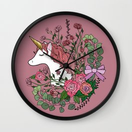 Unicorn in a Pink Rose Garden Wall Clock