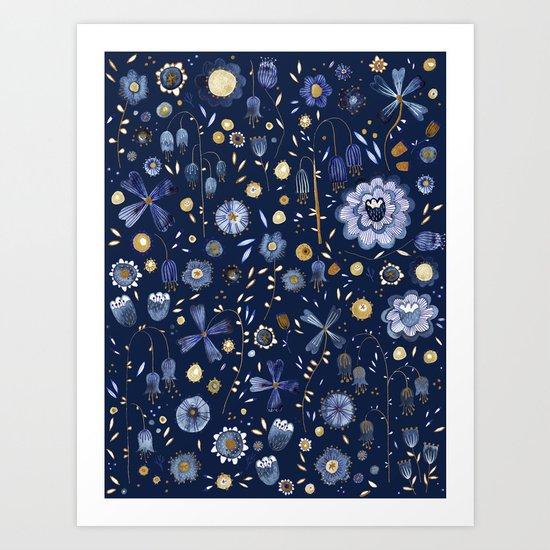Indigo Flowers at Midnight Art Print