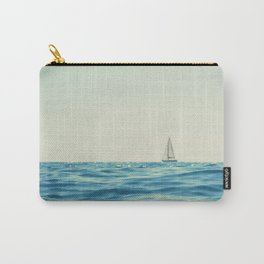 White Sailing Boat Sailing on the Horizon, Open Blue sea Carry-All Pouch