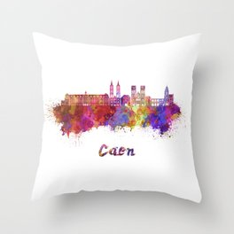 Caen skyline in watercolor  Throw Pillow