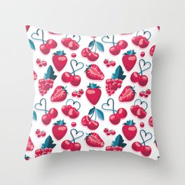 Cherries, berries and strawberries // white background red fruits Tote Bag Throw Pillow