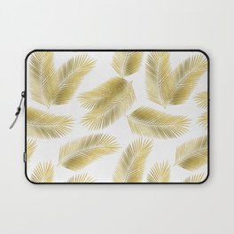 Gold Tropical Palm Leaves Pattern Laptop Sleeve