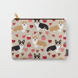 Corgi tricolored welsh corgis tan cupcakes valentines day love gifts for corgi dog lover Carry-All Pouch
