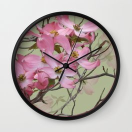 PINK FLOWERING DOGWOOD Wall Clock