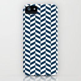 Prussian Blue Herringbone Pattern iPhone Case