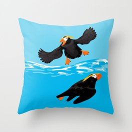 Bering Sea Puffins Throw Pillow