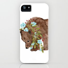 Bear with flower boa iPhone Case