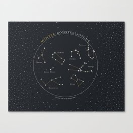 Winter Constellations Astronomy Star Chart Canvas Print