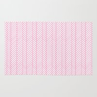herringbone Area & Throw Rugs featuring Herringbone Pink by Project M