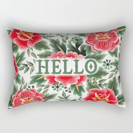 Hello - Vintage Floral Tattoo Collection Rectangular Pillow