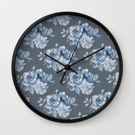 Blue Roses on Grey Wall Clock