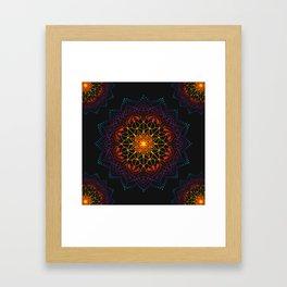 'Glowing Shamballa' Bohemian Mandala Black Blue Purple Orange Yellow Framed Art Print