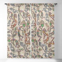 Kokopelli Rainbow Colors on Tribal Pattern  Sheer Curtain