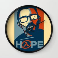 half life Wall Clocks featuring Half Life Hope by The Strynx