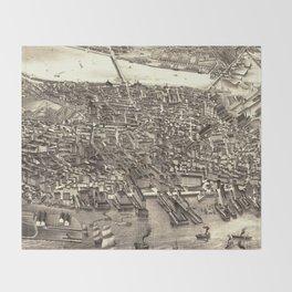 Vintage Pictorial Map of Boston (1880) Throw Blanket