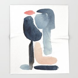 Navy Blue Minimal Figure Throw Blanket