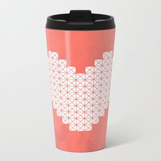 Heart X Red Metal Travel Mug