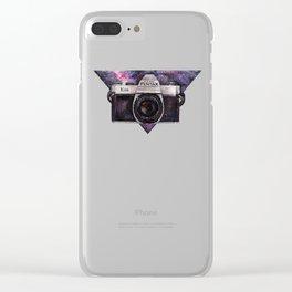 Pentax K1000 (Purple Nebula) Clear iPhone Case