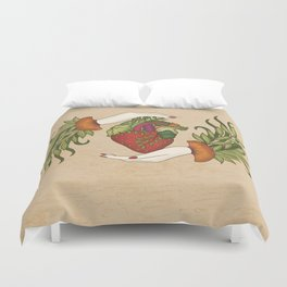 Eating is caring Duvet Cover