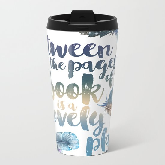 Between the Pages - Feathery White Metal Travel Mug
