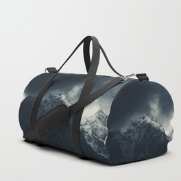 Darkness and storm clouds over mountains Duffle Bag