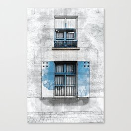 Architect Drawing of Blue Wooden Windows Canvas Print