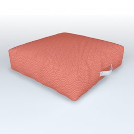 Pantone Living Coral Multi Striped Tiny Scallop Wave Pattern Outdoor Floor Cushion