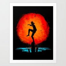 Minimalist Karate Kid Tribute Painting Art Print