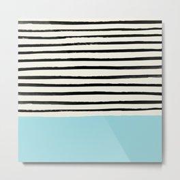 Sky Blue x Stripes Metal Print