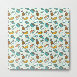 Kawaii Adorable Sushi Pattern Metal Print