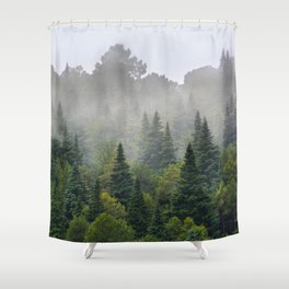 """""""Dream forest"""" Endemig trees into the fog Shower Curtain"""