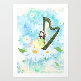 Harp girl 3: Daisy Art Print