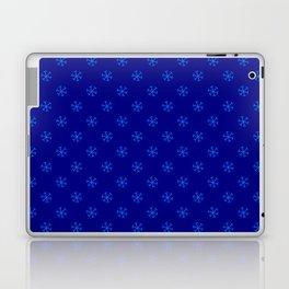 Brandeis Blue on Navy Blue Snowflakes Laptop & iPad Skin