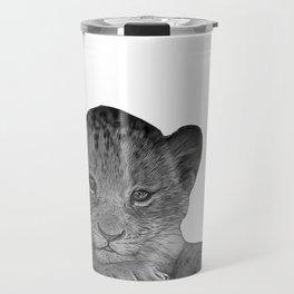 baby cheetah b&w Travel Mug