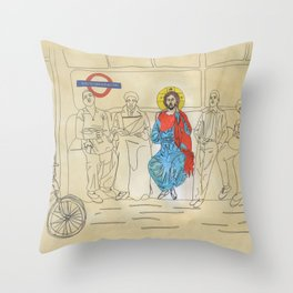 Jesus on the Tube, He is among us Throw Pillow