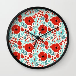 SUMMER POPPIES Wall Clock