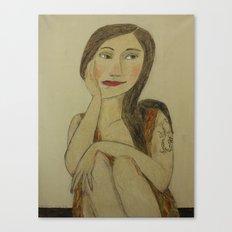 Girl with Dragon Tatu Canvas Print