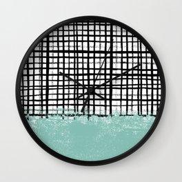 Mila - handpainted grid lines crosshatch weave with mint sage stripe minimalist nursery Wall Clock