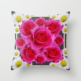 Rose Bouquet Garden Shasta Daisies Art Abstract Throw Pillow