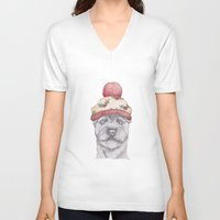 terrier V-neck T-shirts featuring Christmas terrier. by Brionyjoseillustrations