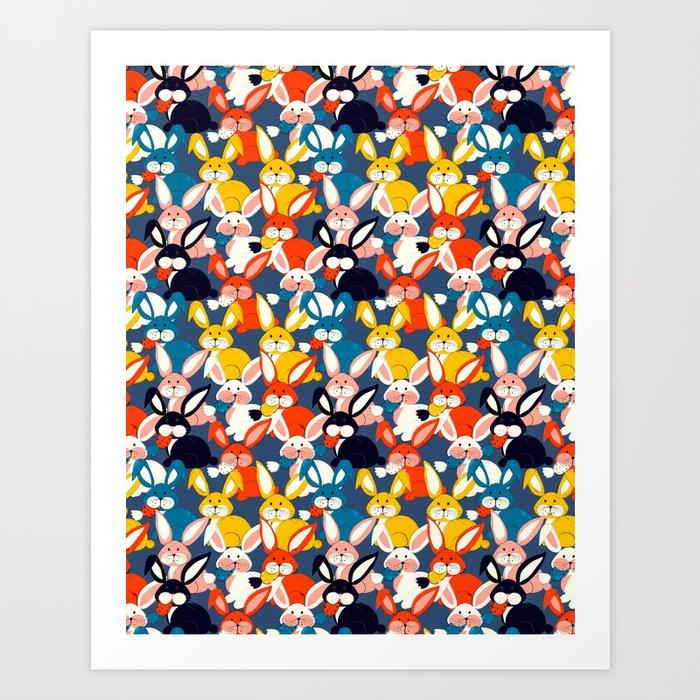 Rabbit colored pattern no2 Art Print